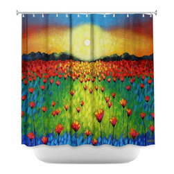 DiaNoche Designs - Shower Curtain Artistic - Sunburst Poppies - DiaNoche Designs works with artists from around the world to bring unique, artistic products to decorate all aspects of your home.  Our designer Shower Curtains will be the talk of every guest to visit your bathroom!  Our Shower Curtains have Sewn reinforced holes for curtain rings, Shower Curtain Rings Not Included.  Dye Sublimation printing adheres the ink to the material for long life and durability. Machine Wash upon arrival for maximum softness. Made in USA.  Shower Curtain Rings Not Included.