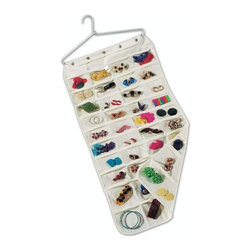 Home Decorators Collection - Ultra Jewelry Organizer - This organization accessory is perfect for keeping your everyday essentials, favorite jewelry pieces or seldom-used items neatly stored away and out of sight. For an added convenience, this piece easily folds and stows into luggage for traveling. Order yours today. Double-sided design offers 80 pockets for all of your everyday essentials. See-through pockets allow you to see the contents of each pocket.