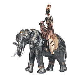 GSC - 17.25 Inch African Woman on Silver Colored Elephant Figurine - This gorgeous 17.25 Inch African Woman on Silver Colored Elephant Figurine has the finest details and highest quality you will find anywhere! 17.25 Inch African Woman on Silver Colored Elephant Figurine is truly remarkable.