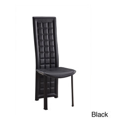 None - Long Back Tufted Leatherette Dining Chair - This modern dining chair features contemporary styling with its long back design and chrome metal legs. This dining chair also boasts a sophisticated, sleek look and tufted detailing that will compliment almost any contemporary dining set.