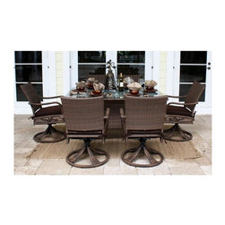 Hospitality Rattan - Grenada Patio 7 Pc. Rect Dining w Glass Table in Viro Antique Brown - Set includes Rectangular Table and 6 Swivel Rocking Chairs. Cushions not included. Viro Antique Brown finish. Includes frosted Tempered Glass. Weather and UV resistant. Sturdy Aluminum legs for extra support. Tables Requires Assembly. Table: 62 in. W x 42 in. D x 30 in. H (155 lbs.). Swivel Rocking Chair: 24 in. W x 29 in. D x 36 in. H (20 lbs.)The Grenada Collection has a contemporary, yet tropical feel that offer a clean look for any patio area and the convenience of all-weather wicker. Supported by an Aluminum frame wrapped in high quality Viro Fiber. This all-weather wicker 7 PC set is incredibly comfortable with or without cushions. The simplicity of the Grenada collection and the versatility really make it an excellent choice for anyone. It includes six armchairs, and a woven rectangular dining table with frosted Tempered Glass. Cushions not included and are not included.
