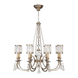 Fine Art Lamps - Eaton Place Silver Chandelier, 585240-2ST - Let your home truly shine with this stately chandelier. Tastefully grand, it features a muted silver-leaf finish, faceted channel-set crystal shades and brilliant pendant accents.