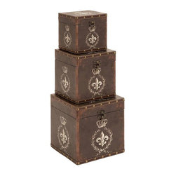 "Benzara - Box with Charming Fleur-De-Lis Patterns - Set of 3 - Box with Charming Fleur-De-Lis Patterns - Set of 3. This classy wooden leather box offers you both functionality and style. It comes with following dimensions: 10""W x 10""D x 10""H. 8""W x 8""D x 8""H. 7""W x 7""D x 7""H."