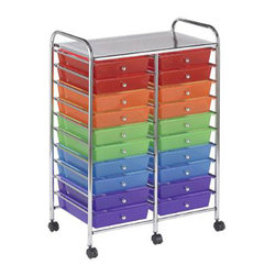 Ecr4kids - Ecr4Kids 20 Drawer Mobile Storage Organizer Cart-Assorted - This practical organizer can hold just about everything from art and crafts projects to office supplies With its 20 drawers, its perfect for the classroom, home or office to consolidate multiple items into a single convenient location. Sturdy plastic drawers slide in and out easily and stay on track. Includes 6 casters (2 locking) for mobility. Style Notes Choose drawer color Assorted (AS), Smoke (SM), or White (WH). Colors may vary and are subject to change without notice.