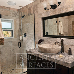 Antique Bathrooms Limestone Shower Walls and Floors - Image by 'Ancient Surfaces'