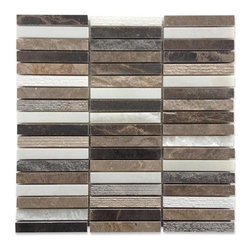 """GlassTileStore - Esker Walnut Bark Bricks Marble Tile - Esker Walnut Bark Bricks Marble Tile             This marble mosaic will provide endless design possibilities from contemporary to classic. It creates a great focal point to suit a variety of settings. The mesh backing not only simplifies installation, it also allows the tiles to be separated which adds to their design flexibility. Natural stones are products of nature, therefore, variations in color, pattern, texture, and veining will occur.         Chip Size: 5/8""""x 4""""   Color: Lagos Azul, Lagos Gray, and Asian Statuary   Material: Marble   Finish: Honed and Chiseled    Sold by the Sheet - each sheet measures 12"""" x 12"""" (1 sq. ft.)   Thickness: 10mm   Please note each lot will vary from the next.            - Glass Tile -"""