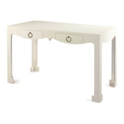 Bungalow 5 Jacqui Console/Desk, White - This is one of my favorite desks to date! I love the curves and the white lacquer finish.