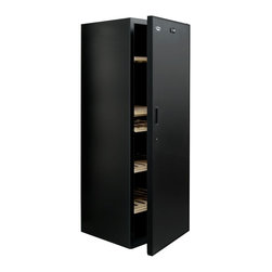 Vinotemp - Cellier Solid Door Wine Cabinet - Black color. Holds upto 267 bottles. 26.87 in. W x 27.25 in. D x 43.25 in. H (134 lbs.). Made in France. Lead time: 3 to 5 days. Cooling and heating circuit. Five adjustable wood shelves. Shelves can be positioned to slide out, hold bulk storage or have bottles displayed upright. Holds up to thirteen shelves. Quiet and compressor-based cooling system. Adjustable temperature control with digital display. Interior hygrometer. Recessed handles. Locking door. Cabinet and door trim. Rear exhaust. Ambient temperature range: 32 - 86 degree F. Overall temperature Range: 48 - 59 degree F. Warranty. Winmate Cooling Installation InstructionsThe special cooling properties of the VinoCellier make it an excellent choice for a garage cabinet. Controller built into cabinet roof allows to hide controller and display or have it down for use.