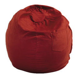 "Fun Furnishings - Fun Furnishings Micro Suede Small Bean Bag by Fun Furnishing-Personalized in Red - What a great place to plop down and relax. Each bag come with a handy pocket to store the clicker or any other prized possession. The outer cover is removable for cleaning. The inner liner bag securely contains new fire retardant ""beads"" and is refillable too. Cleaning the Cover. We use only fine upholstery-grade fabrics that can take lots of use from kids. Our Micro Suede's, denims and chenille's are all washable."