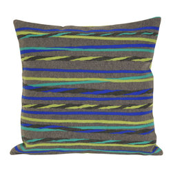 "Trans-Ocean - Twisted Stripe Grey Pillow - 20"" SQ - The highly detailed painterly effect is achieved by Liora Mannes patented Lamontage process which combines hand crafted art with cutting edge technology.These pillows are made with 100% polyester microfiber for an extra soft hand, and a 100% Polyester Insert.Liora Manne's pillows are suitable for Indoors or Outdoors, are antimicrobial, have a removable cover with a zipper closure for easy-care, and are handwashable."