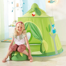 Haba - Haba Magic Forest Play Tent - 8457 - Shop for Tents and Playhouses from Hayneedle.com! Enchantment and wonder fill the Haba Magic Forest Play Tent a free standing play hut that's a vision in green. Colorful forest friends join the fun while leafy sashes at the door can be furled and unfurled to create a cloistered resting area or an open inviting play space. Imagination is the secret ingredient as children will star in their own treetop fantasies. This indoor tent can become a hatchery a naturalist's lab a forest restaurant or of course a treehouse. It collapses into a small compact bundle that's easy to store. Fabric is cotton/polyester with a mesh window. The frame consists of plastic rods. The cushion is not included but neither are pthalates BPA PVC flame retardants or water repellents for safety.About HABAIn 1938 HABA began manufacturing finely polished wooden toys in Germany. Today these blocks and toys are still an important part of the HABA product line but the company has expanded to produce a wider variety of inventive playthings for inquisitive minds. From games and jewelry to tableware and rugs HABA products are known for innovative design and attention to detail. HABA toys support children's development and foster the spirit of discovery. HABA products undergo rigorous testing under European guidelines. They've won numerous Children's Game of the Year awards and look to continue their legacy of innovative exciting design for kids around the globe.