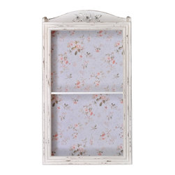 """Enchante Accessories Inc - Distressed Wooden Two Tier Wall Cabinet / Wall Shelf (Distressed Cream) - Two tier wood wall cabinet with shelfDistressed, rustic finish that gives it a weathered, shabby chic lookDetailed with a flower accent at the top and a vintage wallpaper design against the backPerfect for holding decorative items or personal collectionsMeasures 15.75"""" x 28""""Display knickknacks and decorative items in true vintage style inside this rustic wooden wall cabinet from the Home Office Collection. The Distressed Wooden Two Tier Wall Cabinet / Wall Shelf is made from solid wood construction and features a vertical design with two shelves and a distressed painted finish that gives it the look of an heirloom treasure you wish you could have stumbled upon amongst the collection of antiques in your grandmother""""s attic. Detailed with a gently curved top edge and decorated with raised flowers at the top that add texture and a touch of rustic beauty, this wall cabinet is backed with a vintage floral wallpaper design that serves as the perfect backdrop for a collection of mismatched tea cups, vintage vases, or other decorative items. The edges of this rustic cabinet have a textured ridged design that mimics the look of a classic wooden picture frame. The ridges not only accentuate the distressed look, but help to highlight the natural texture of the wood and show all of the nicks and imperfections that come with age and weathering.  While it's the perfect display shelf for decorative items, this antiqued wall cabinet can also be used as a functional piece to hold accessories such as coffee mugs, canisters, or glasses in the kitchen, household items such as candles and vases in the living room, or personal accessories such as jewelry boxes and keepsake boxes in your bedroom. The distressed cream color is detailed with a pale pink floral rose wallpaper print while the distressed gray cabinet features a pale blue and green floral wallpaper print. No matter where you pla"""