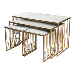 Aidan Gray - Aidan Gray Grubb Nested Coffee Tables Set F294 SET - Sleek and stylish this set of four nested coffee tables will add modern luxury to your living room, dining room, den or home office. The gold leaf and glass design is classic and will make a stylish statement in your home. The nested design is perfect for smaller spaces like a city apartment where space is limited.
