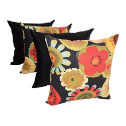 Land of Pillows - Solar Solid Black and Crosby Blackout Floral Outdoor Throw Pillows - Set of 4, 2 - Fabric Designer - Richloom