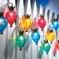 Teardrop Outdoor String Lights - I love the shape and bright colors of these string lights.