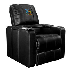 Dreamseat Inc. - Fantastic Four Home Theater Plus Leather Recliner - Check out this Awesome Leather Recliner. Quite simply, it's one of the coolest things we've ever seen. This is unbelievably comfortable - once you're in it, you won't want to get up. Features a zip-in-zip-out logo panel embroidered with 70,000 stitches. Converts from a solid color to custom-logo furniture in seconds - perfect for a shared or multi-purpose room. Root for several teams? Simply swap the panels out when the seasons change. This is a true statement piece that is perfect for your Man Cave, Game Room, basement or garage. It combines contemporary design with the ultimate comfort from a fully reclining frame with lumbar and full leg support.