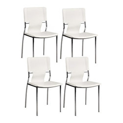 "Zuo - Zuo Trafico White Set of Four Side Chairs - The chrome finished steel legs are slender and strong and support the leather-like seat and open inserts back. Super soft and comfortable this chair looks great from every angle. Just wipe clean with a cloth. Set includes four chairs. White leatherette seat back. Chrome finish over steel tub legs. 33"" high. 17"" wide. 20"" deep. Seat is 16 1/2"" deep.  Set includes four chairs.  White leatherette seat back.  Chrome finish over steel tub legs.  33"" high.  17"" wide.   20"" deep.  Seat is 16 1/2"" deep."