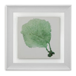 Bassett Mirror - Bassett Mirror Framed Under Glass Art, Sea Fan II - Achieve a striking marine-inspired look with Sea Fan II, the second installment in the Sea Fan series. Framed beneath glass in a simple gray and white frame, this print depicts a soft Gorgonian coral in vibrant green. Hang this in your beach style home for a bright pop of color.