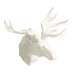 Kathy Kuo Home - The Hunt Large White Porcelain Elk Trophy Head - The hunt is over. With lifelike detail and large antlers, this white porcelain elk trophy head is a showpiece you will be fiercely proud to hang above your mantle.