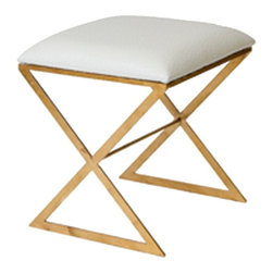worlds Away - X Side Stool - X Side Stool-gold with white ostrich