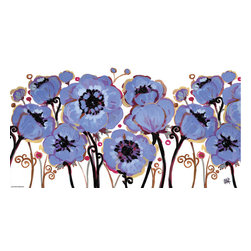 Murals Your Way - Blue Anemone Wall Art - Painted by Natasha  Wescoat, Blue Anemone wall mural from Murals Your Way will add a distinctive touch to any room