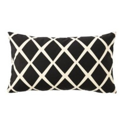 Serena & Lily - Diamond Lumbar Pillow Cover  Black - Such a simple design, yet so striking. On a backdrop of modern black, the loosened-up lines in soft white take on the look of a block print. We love the idea of mixing several shades together to create the ultimate color story.