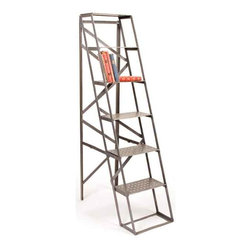 Go Home - Go Home Mill Ladder - This tall standing mill ladder comes from our vintage furniture collection. It can store your favorite books or frames and add an urban look to your home.