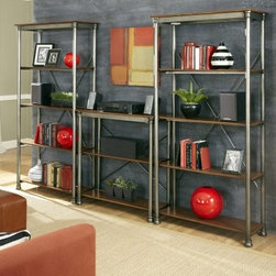 Home Styles The Orleans Multi-Function Storage Unit - Gray - Give your design books a home worthy of the homes in their pages with the Home Styles The Orleans Multi-Function Storage Unit - Gray. Crafted with durable metal frames in a gray powder-coat finish, each of the three included shelving units is outfitted with caramel birch veneer shelves - the system boasts 13 shelves in all. X-style supports lend sturdiness, and the open shelves are ideal for bulky items. Use the units together or separately.About Home StylesHome Styles is a manufacturer and distributor of RTA (ready to assemble) furniture perfectly suited to today's lifestyles. Blending attractive design with modern functionality, their furniture collections span many styles from timeless traditional to cutting-edge contemporary. The great difference between Home Styles and many other RTA furniture manufacturers is that Home Styles pieces feature hardwood construction and quality hardware that stand up to years of use. When shopping for convenient, durable items for the home, look to Home Styles. You'll appreciate the value.