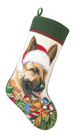 """Peking Handicraft - German Shepard Santa Needle Point Stocking - With its charming vintage design and intricate needle point quality, our adorable pet stockings are ready to fill with toys and treats for your best friends! This well made stocking features a plush velveteen color coordinated back and is meant to last for years! Indeed Decor will donate 20% of profits to animal rescue charities. Dry Clean Only. 11"""" x 18""""."""