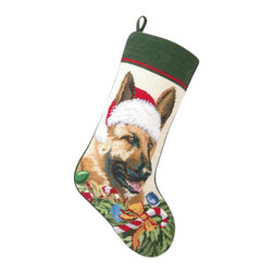 "Peking Handicraft - German Shepard Santa Needle Point Stocking - With its charming vintage design and intricate needle point quality, our adorable pet stockings are ready to fill with toys and treats for your best friends! This well made stocking features a plush velveteen color coordinated back and is meant to last for years! Indeed Decor will donate 20% of profits to animal rescue charities. Dry Clean Only. 11"" x 18""."
