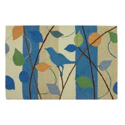 Homefires - Inspired Flight Rug - Give your home the bird. This wool-like, machine washable area rug features a singular bird surrounded by colorful leaves and a cool pattern. Whether it's an inspirational bird or a flippant one is entirely up to you.