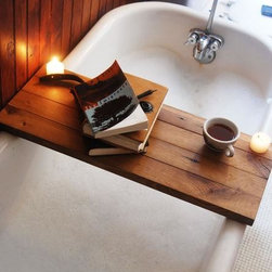 Reclaimed Wood Bathtub Caddy - I've been wanting to buy a bath caddy to hold a drink, a book and my phone while in the tub. This reclaimed wood version certainly fits the bill. I'm feeling relaxed just thinking about it.