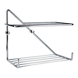 Hispania Bath - Chrome 11.4'' Wall Mounting Shower Rack w/ Shelves - Chrome Collection. 11.4'' Wall Mounting Shower Rack w/ two shelves. Simple and amazing design made in brass polished chrome highly reflective. Ideal for a luxury decoration in your bathroom. Very suitable and convenient for your bathroom shower, easing you where to put your bathroom products. Beautifully coordinates with others bathroom accessories from Macral Design product line, such as paper holder, robe hook, soap dispenser which are available to be purchased any time online in our Houzz profile stock items. Design and manufactured in Spain.