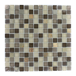 "Geological Squares Multicolor Slate & Khaki Blend Glass Tiles - Geological Squares Multicolor Slate + Khaki Blend Glass Tiles 3/4 x 3/4 This striking square design has a combination of multicolor slate and khaki, beige and brown glass. These mesh mounted and will bring a sleek and contemporary clean design to any room. Chip Size: 3/4 x 3/4 Color: Multicolor and Khaki, Beige, and Brown Material: Slate and Glass Finish: Frosted and Polished Sold by the Sheet - each sheet measures 12""x12x (1 sq. ft.) Thickness: 8mm"
