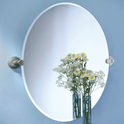 Marina Oval Tilting Mirror - This oval mirror tilts slightly to provide you the best angle, and is mounted with solid brass Marina brackets in your choice of finish.