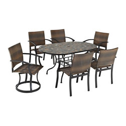 HomeStyles - Stone Harbor 7PC Dining Set with Newport Chai - Powder-coated steel. Synthetic-weave is both moisture and weather resistant. Nylon glides on legs for stability. 2-inch umbrella opening. Table Dimensions: 65 in. W X  39.5 in. D X  29.5 in. H. Chair Dimensions: 24.5 in. W X  24.5 in. D X  36 in. HCreate a tranquil and majestic atmosphere with The Stone Harbor 7PC Dining Set. The table top is constructed of small, square, hand-applied slate tiles in a naturally occurring gray variation; no two tables alike; featuring a center opening that can be used for an umbrella or can be closed with the included black cap for a continuous surface.  The base is constructed of powder coated steel in a Black finish. The Newport Chairs features a two-tone walnut brown CycropleneTM, synthetic-weave, seat and back over a powder-coated steel frame in a black finish. The synthetic-weave is both moisture and weather resistant and required very little maintenance.  Adjustable, nylon glides prevent damage to surface caused by movement and provide stability on uneven surfaces.  Swivel chairs feature ball bearing 360 degree swivel. Seat height measures 18 inches high.  Set includes dining table, two swivel chairs, and two arm chairs. Table Size:  65w 39.5d 29.5h.  Chair Size: 24.5w 24.5d 36h.