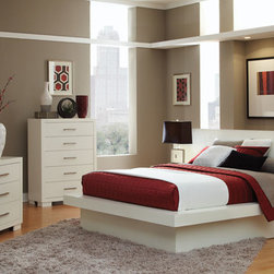 Transitional Bedroom Collection - Coaster 202990 Jessica Contemporary Crisp White Finish With Romantic Ambient Light With Seating Rails Bedroom Set