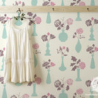 """Vintage Vases Allover Floral Stencil - Bring back the romance with the Vintage Vases allover floral wall stencil from the Bonnie Christine Stencil Collection at Royal Design Studio. This unique and """"Granny Chic"""" allover floral stencil allows you to create a custom wallpaper look on a feature wall or whole room. You can even use the individual floral vase elements individually for craft stencil projects, on pillow, furniture, and more."""