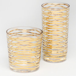 DwellStudio Gold Ribbons Drinking Glass - The understated gold geometric details add an elegant touch to these gorgeous drinking glasses.