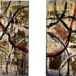 Lesli Marshall Mixed Media Artist - 'Make Your Own Path' Original Painting by Lesli Marshall - 36 x 36 Each on Aluminum