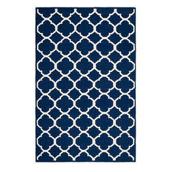 Safavieh - Dhurries Navy and Ivory Rectangular: 5 Ft. x 8 Ft. Rug - - This distinctive piece is both stylish and incredibly soft to the touch with bold rich colors that complement any room. Flat-woven by hand in India  - Pile Height: 0.25  - Construction: Flatweave  - Shedding is a normal occurrence and will reduce over time with frequent vacuuming. It is also recommended that you vacuum regularly to prevent dust and crumbs from settling into the roots of the fibers. AVOID DIRECT AND CONTINUOUS EXPOSURE TO SUNLIGHT. USE RUG PROTECTORS UNDER THE LEGS OF HEAVY FURNITURE TO AVOID FLATTENING PILES. DO NOT PULL LOOSE ENDS, CLIP THEM WITH SCISSORS TO REMOVE. TURN CARPET OCCASIONALLY TO EQUALIZE WEAR. REMOVE SPILLS IMMEDIATELY ; IF LIQUID, BLOT WITH CLEAN, UNDYED CLOTH BY PRESSING FIRMLY AROUND THE SPILL TO ABSORB AS MUCH AS POSSIBLE. FOR HARD TO REMOVE STAINS, PROFESSIONAL RUG CLEANING IS RECOMMENDED. STORE IN A DRY, WELL-VENTILATED AREA. USE OF A RUG PAD IS RECOMMENDED. Safavieh - DHU627D-5