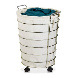 Honey Can Do - Chrome Rolling Hamper - Sturdy metal frame with chrome finish. Removable canvas laundry bag. Includes casters. 19.75 in. L x 17.75 in. W x 25 in. H