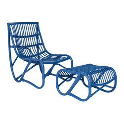 Safavieh - Safavieh Shenandoah Chair with Ottoman in Blue - Inspired by mid-century modern rattan chair swings, the Shenandoah chair and ottoman bring a comfortable, minimalist design aesthetic to indoor spaces and covered outdoor porch or patio. Crafted of rattan in chic blue finish, the curvy silhouettes of chair and separate ottoman ensure relaxation in style. What's included: Chair (1), Ottoman (1).