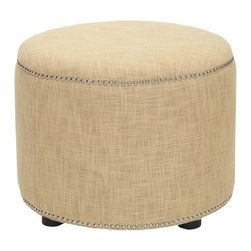 Safavieh - Rose Ottoman - The antidote to boxy rooms with rectangular furniture, this classic round ottoman adds welcome curves to any living space. The Rose ottoman's fashion-right honey gold viscose-polyester upholstery is accented with nail head trim, while black-finished beech wood legs provide transitional flair.