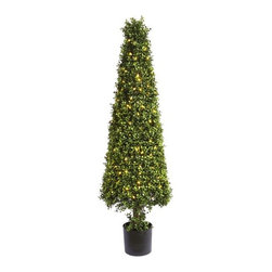 Artificial Outdoor Foliage - This artificial outdoor boxwood cone topiary has 200 LED lights neatly hidden within the foliage. Excellent for all season use and better when lighted for the holidays.