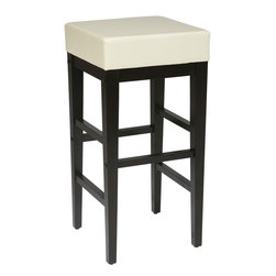 "Office Star Products - 30"" Square Barstool in Cream Faux Leather / Espresso Base - 30"" Square Barstool in Cream Faux Leather / Espresso Base; 30"" Square Barstool; Attractive design compliments most any decor; Durable padded Cream PU vinyl top with Espresso finish solid wood legs; 17"" Diameter x 30.25""H; Easy to assemble; Dimensions: 14.75""W x 14.75""D x 30.25""H"