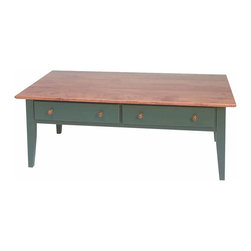 Renovators Supply - Coffee Tables Bayberry Birch Homestead Coffee Table | 166529 - Coffee Table. This Homestead coffee table top is made of solid birch and is finished with our own luxurious hand-polished Autumn stain and protective Endura-finish. In contrast to the top the legs and body are hand stained in a Bayberry Green. Features two deep pull-out drawers adorned with simple round knobs. Measures 16 in. high x 44 in. wide x 24 in. deep.