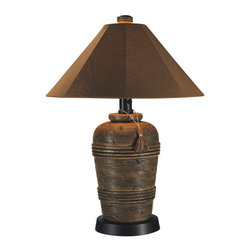 Patio Living Concepts - Patio Living Concepts Canyon 35 Inch Outdoor Table Lamp w/ Nutmeg Sunbrella Shad - 35 Inch Outdoor Table Lamp w/ Nutmeg Sunbrella Shade belongs to Canyon Collection by Patio Living Concepts Add casual elegant styling to your outdoor living area. Features all resin construction with a heavy weighted cocoa base. Completely weatherproof with a nutmeg Sunbrella shade cover, two level dimming switch and a 16 ft. cord. Unbreakable poly-carbonate waterproof light bulb enclosure allows the use of a standard 100 watt light bulb. Model # 51910 Made in the USA. Lamp (1)