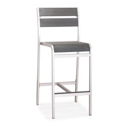 ZUO VIVA - Megapolis Bar Chair Brushed Aluminum - The Megapolis Bar Chair has a sturdy brusehed aluminum frame and a slatted faux wood seat and back.
