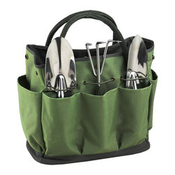 Picnic at Ascot - Gardening Tote with Tools, Eco - Casual Style defines this durable multi-pocket gardening tote. Set includes three top quality, heavy gauge stainless tools with comfort grip handles.  Roomy interior is great for transporting supplies & side pockets have room for a beverage and snack. Designed and Assembled in the USA. Lifetime Warranty.